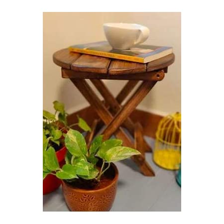 beyond collection Mango Wooden Contemporary Antique Finish Foldable Side Coffee Table/Planter Stool for Home, Garden, Balcony, Indoor Plants (Brown)