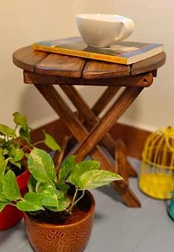beyond collection Mango Wooden Contemporary Antique Finish Foldable Side Coffee Table Planter Stool for Home Garden Balcony Indoor Plants Brown