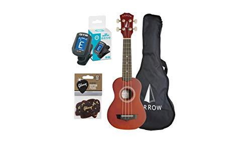 Arrow PB10 NT Konzert Ukulele mit Ukulele Tasche aus Naturholz, Ukulele Hawaii Gitarre - Natürliches dunkles Oberteil