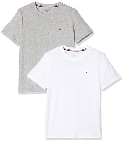 Tommy Hilfiger 2p Cn tee SS Top de pijama, Blanco, 12-13 años para Niños