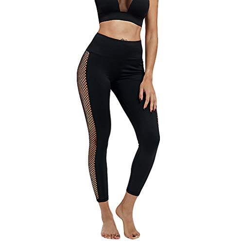 Damen Hohe Taille Dünne Yoga Hose Yogogo Netz Garn Nähen Hosen Sexy Mesh Druck Sommer Yoga Leggings Yogahose Lange Bleistift 3/4 Tummy...