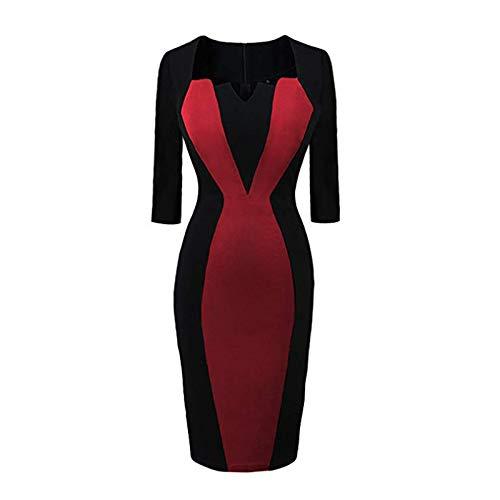Your New Look - Vestido de mujer con cuello cuadrado, falda y vestido de negocios