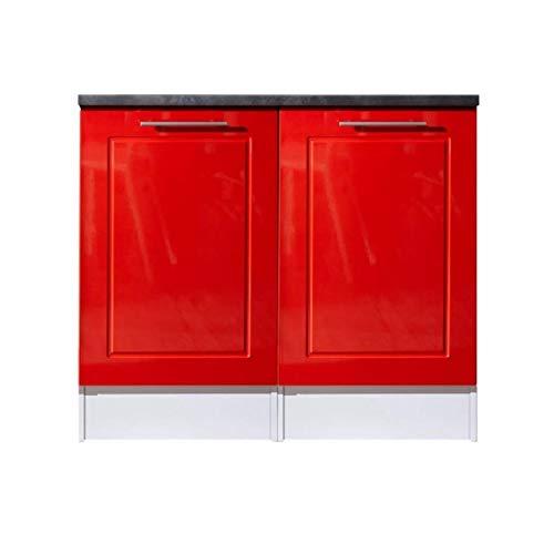 Spülenunterschrank Küche rot Hochglanz Valenzia 2 Küchenschrank Metall 100 cm