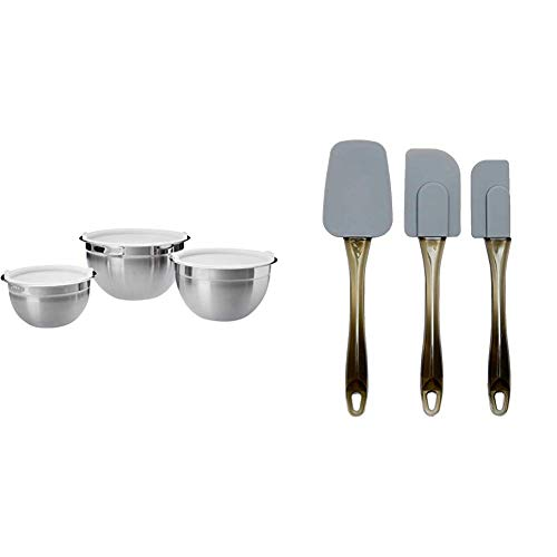 Amazon Basics - Rührschüsseln, Edelstahl, 3-teiliges Set & Teigschaber, Silikon, 3-teiliges Set