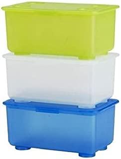 Ikea Storage Boxes Organizer (Set of 3) Blue Green White