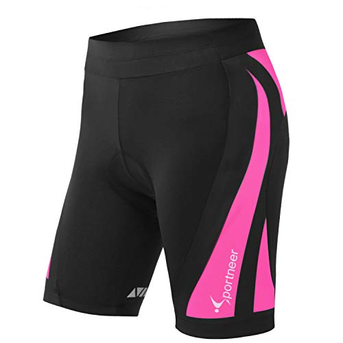 Womens Padded Cycling Shorts 4D Padding Sportneer Bike Bicycle Shorts for Women Black