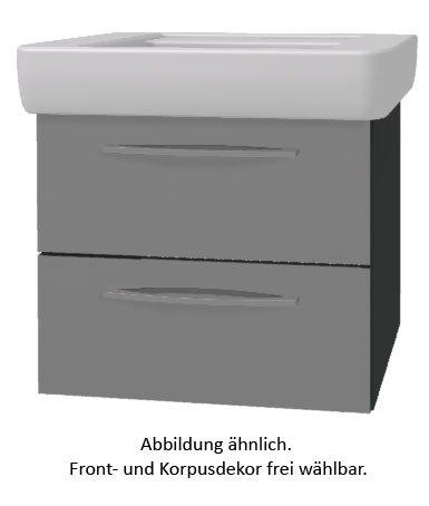 PELIPAL Solitaire 9005 Set K59-2L: Keramik Waschtisch Keramag Renova Nr.1 Plan, Weiß + Unterschrank