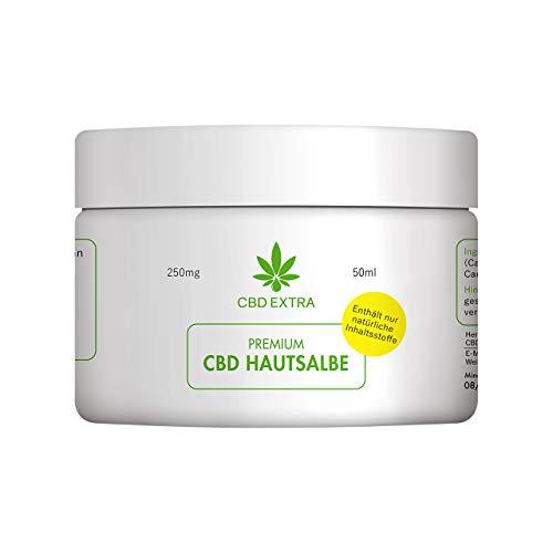 CBD EXTRA Premium Hautsalbe – THC-freie CBD Creme für trockene, gerötete und entzündete Haut – tierversuchsfreie Hautcreme aus nur 5 natürlichen Inhaltsstoffen, 50 ml