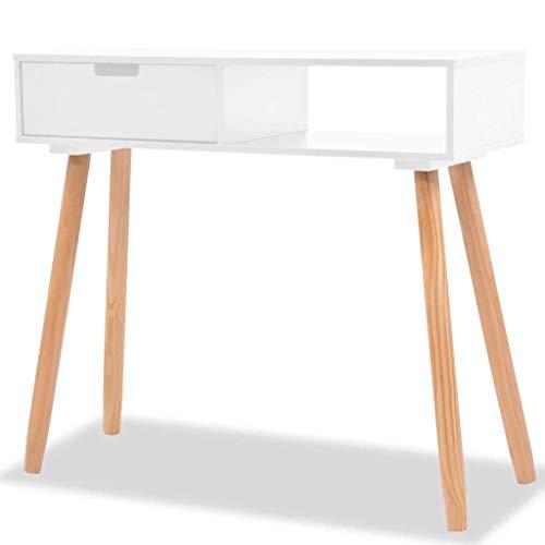 vidaXL Bois de Pin Massif Table Console Blanc Stockage Meuble Mobilier Salon