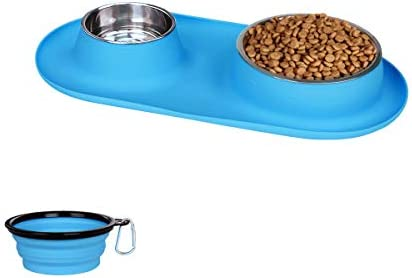 Dog Bowls Stainless Steel Collapsible Dog Bowl with No Spill Non Skid Silicone Mat Set Three product image