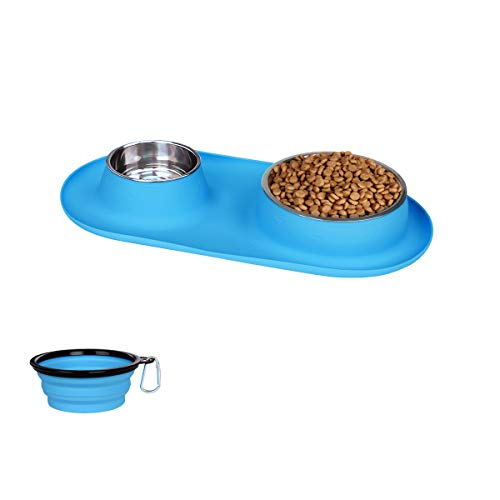 Dog Bowls Stainless Steel, Collapsible Dog Bowl with No Spill Non-Skid Silicone Mat Set, Three...
