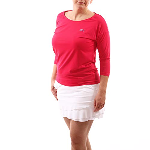 Sportkind Mädchen & Damen Tennis, Fitness, Sport 3/4 Langarm Shirt Loose Fit, atmungsaktiv, UV-Schutz UPF 50+, pink, Gr. XL