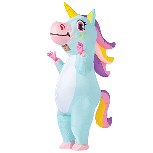 Spooktacular Creations Full Body Unicorn Inflatable Costume Adult (Blue)