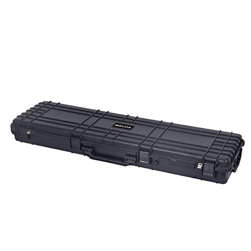 MEIJIA Portable Waterproof All Weather Rolling Hard Rifle Case with Wheels,Foam Inserted , Elegant Black,53x16.14x6.1inches