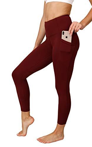 90 Degree By Reflex Power Flex Yoga Pants - High Waist Squat Proof Ankle Leggings with Pockets for Women - Burgogne - XS