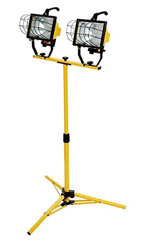 Woods L13 Twin Head Work Light, Adjustable Tripod Up To 42 Inches Tall, 16,000 Lumen, 4-Foot 18/3...