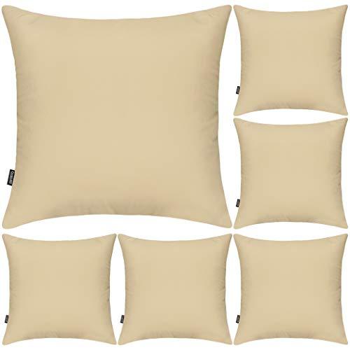 Juego de 6 fundas de almohada decorativas 100% algodón, 45 x 45 cm, cuadradas, fundas de almohada sólidas para el hogar o la cama, sofá (Khaki, 6 paquetes, 45 x 45 cm)