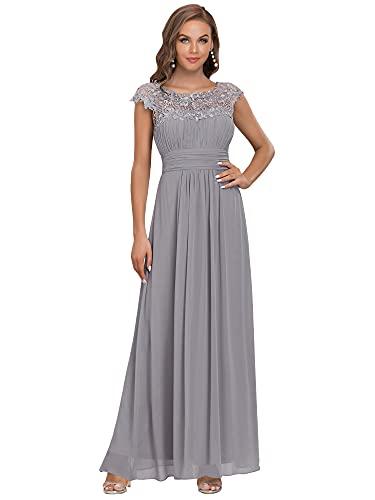 Ever-Pretty Cap Sleeve Maxi Chiffon Homecoming Graduation Dress Grey US14