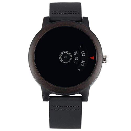 Reloj de madera minimalista con diseño de esfera en forma de abanico y diseño artístico, cuarzo rojo sándalo, correa de piel, reloj de bolsillo para hombre (color negro)