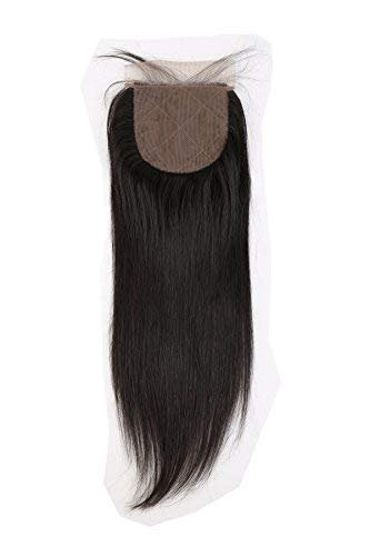 Greatremy 10' Silk Base Closure with Baby Hair Straight Virgin Hair Closure 4X4' Free Part Natural Color