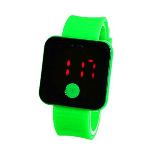 Colorful Armbanduhr Digitale Sportuhr Silikonuhr mit LED Damen Herren Digital Sport Silikon Uhr (Grün)