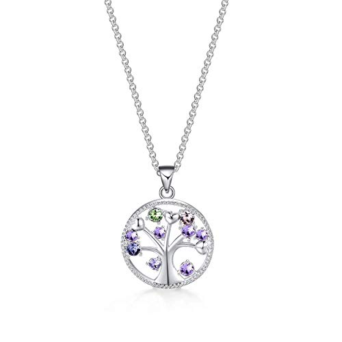 Philip Jones Silver Chakra Tree of Life Necklace Created with Austrian Crystals