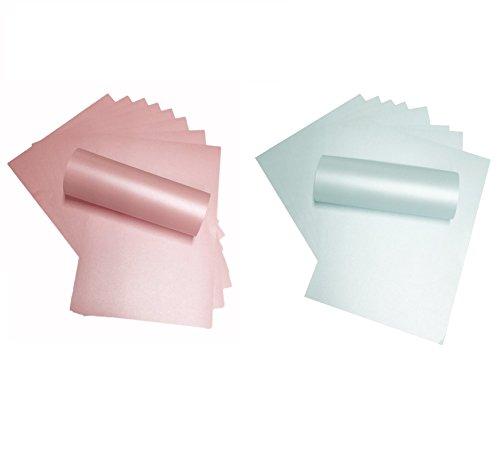 20 Blatt A4-Papier, Perlglanz-Papier, doppelseitig, 120g/m², geeignet für Inkjet- und Laser-Drucker, Babyrosa und Babyblau, jeweils 10 Stück