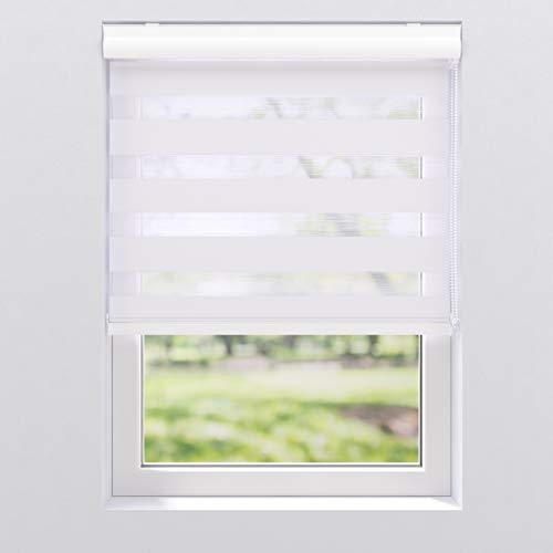 Doppelrollo Duo Rollo mit Alu Blende Fenster Kettenzugrollo Seitenzugrollo Kassettenrollo | 40 - 220 cm breit | 130, 175 und 240 cm hoch | Streifen blickdicht und transparent | 90 x 130 cm, Weiß