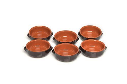 colì maioliche und terrecotte von 1650Brunella Set von 6Schalen mit Griffen, Terracotta, braun, 14x 14x 5cm