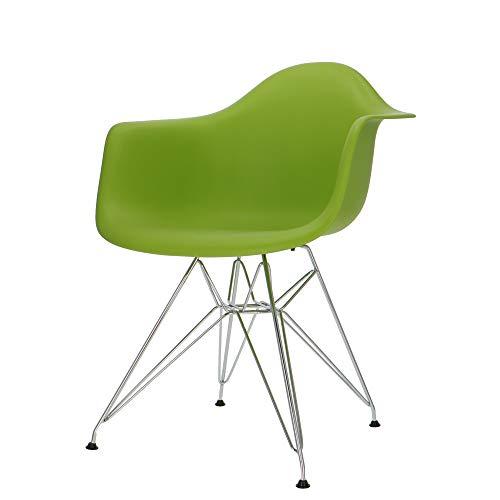 Popfurniture Charles E. DAR-stoel met armleuning - eetkamerstoel, woonkamerstoel, bureaustoel, retro stoel van kunststof en roestvrij stalen frame | 63 x 60 x 83 cm