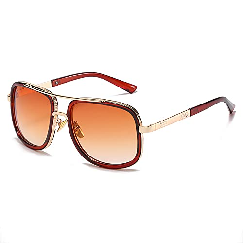 QFSLR Gafas De Sol Redondas De Moda para Hombres con Protección Uv400, Adecuadas para Golf, Pesca Y Conducción,A