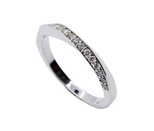 Alianza Oro Blanco Trenzada con Diamantes