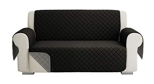 Fundas para Sofa Acolchado, Funda De Sofas 2 Plazas (120 CM), Cubre Sofa Reversible Bicolor, Negro / Gris