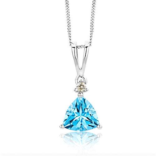 Miore Schmuck Damen 0.02 Ct Diamant Halskette mit Anhänger Edelstein Topas und Solitär Brillant elegante Kette aus Weißgold 9 Karat / 375 Gold