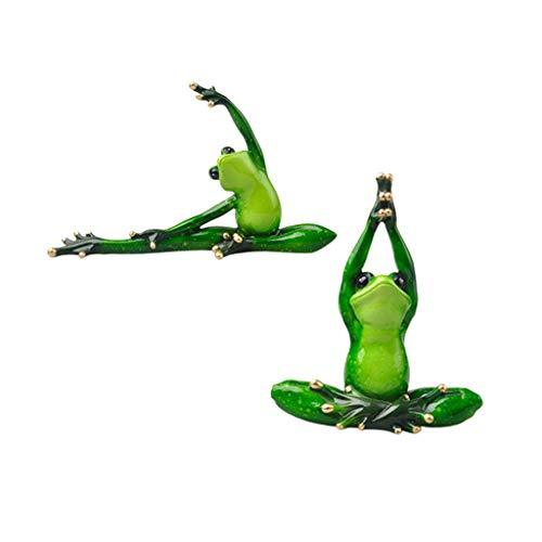 Homyl 2X Yoga Frosch Figur Skulptur Dekofigur Tierfiguren Tischfigur für Wohnzimmer Schlafzimmer
