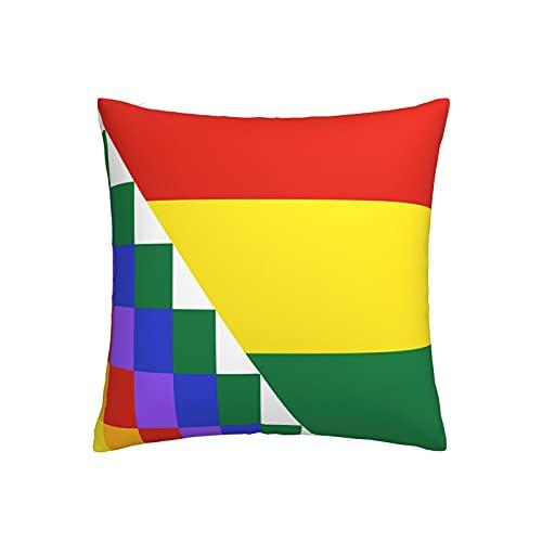 Kissenbezug mit vorgeschlagener Flagge von Bolivien, quadratisch, dekorativer Kissenbezug für Sofa, Couch, Zuhause, Schlafzimmer, Indoor Outdoor, niedlicher Kissenbezug 45,7 x 45,7 cm