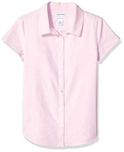 Amazon Essentials Uniform Oxford-Bluse für Mädchen, Kurzarm, Oxford Pink, US L (EU 134-140 CM, P)