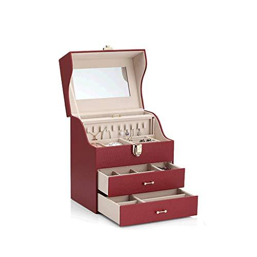 CWT Caja de joyería 25.5 * 18.2 * 29.4 cm Aretes de joyería Almacenamiento de Gran Capacidad Collar Caja de Reloj Regalo de Boda (Color : Red)
