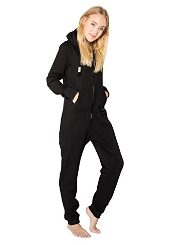 Eight2Nine Damen Sweat Jumpsuit Overall mit Reißverschluss Black S/M