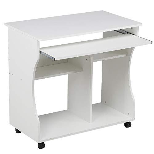 Yaheetech Mesa de Ordenador con Ruedas Bandeja Extraíble 80 x 48 x 76 cm Escritorio de Impresora con Estantes para Oficina Despacho Mesa de Estudio