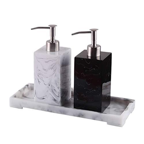 HTDZDX Finto Marmo Dispenser di Sapone in Resina Hand Sanitizer Bottiglia Premendo Dispenser di Sapone Shower Gel Bottiglia Vuota di Sapone Bottiglia eliminare Gli sprechi (Size : Black+White+Disk)