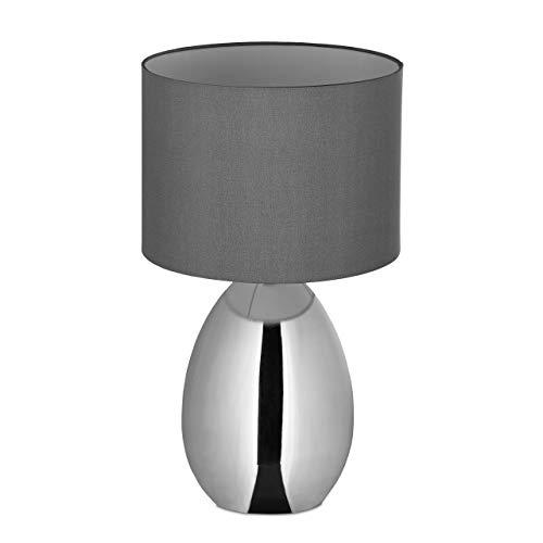 Relaxdays Nachttischlampe Touch dimmbar, moderne Touch-Lampe mit 3 Stufen, E14, Tischlampe mit Kabel, 49 x 30 cm, silber, 10032219, L