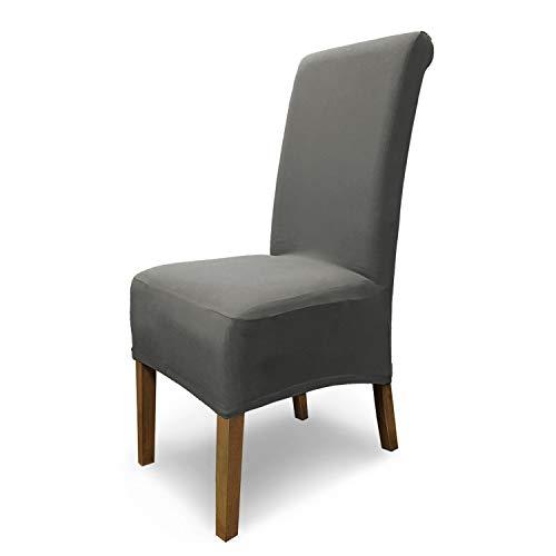 SCHEFFLER-Home Stretch Stuhlhusse Emma | elastische Stuhlabdeckung aus Baumwolle | Stuhlhussen Schwingstühle | Spannbezug mit Gummiband | Elegante Stuhlbezüge