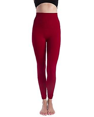 Homma Premium Thick High Waist Tummy Compression Slimming Leggings (Medium, Red)