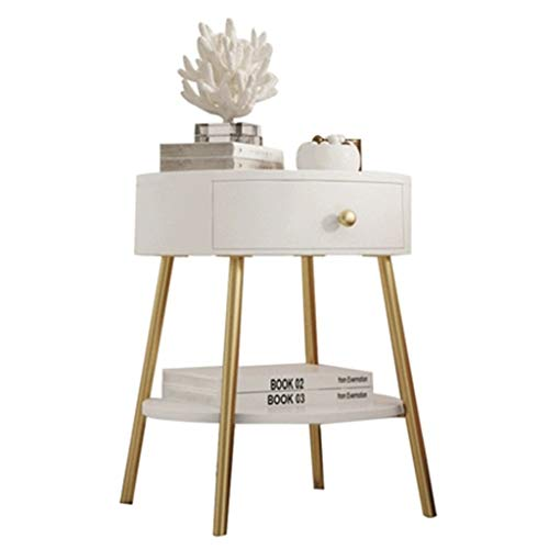 Tables basses Table De Chevet Chambre Salon Table D'appoint Casier Simple Petite Table D'appoint D'assemblage Cadeau (Color : Blanc, Size : 40 * 40 * 49.5cm)