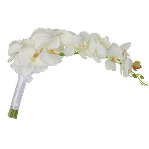 joyMerit Romantische Cascade Bouquet Hochzeit Braut Blumenmädchen Künstliche Seidenblume Calla Lily Orchids Lieferant Foto Prop