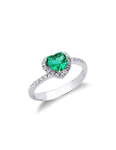Gioielli di Valenza - Anello in oro Bianco 18k con Smeraldo a cuore e diamanti. - ANN2231BBS - 19
