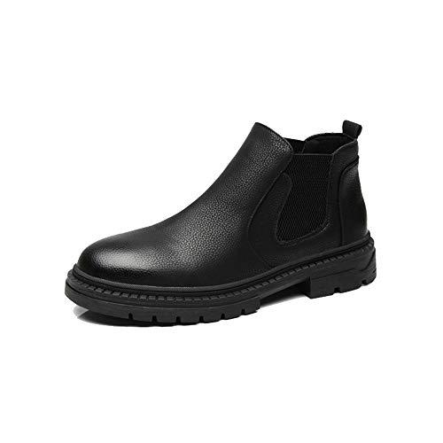 Son Botines Casuales con Suela Antideslizante (Plantilla de Aumento de Altura Opcional) Botas Chelsea Elegantes for Hombres New Winter Style (Color : Negro, tamaño : 41 EU)