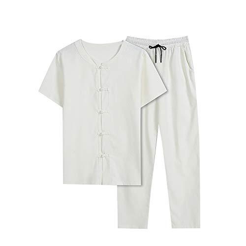 T-Shirt Top Hose Zweiteiliger Anzug Herren Retro Loose Langarm (Top + Hose) (M,5weiß)