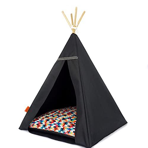 Halkalife Zelt für Katzen und Hunde, Glamour Schwarz-Weiß, Tipi-Bett für Katzen und Hunde, Luxus-Bett für Katzen und Hunde, Größe L, Schwarz, Pixel, Größe L